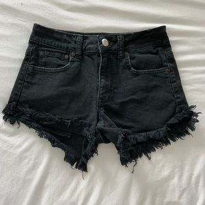 AMERICAN EAGLE Black Cutoff Denim Shorts